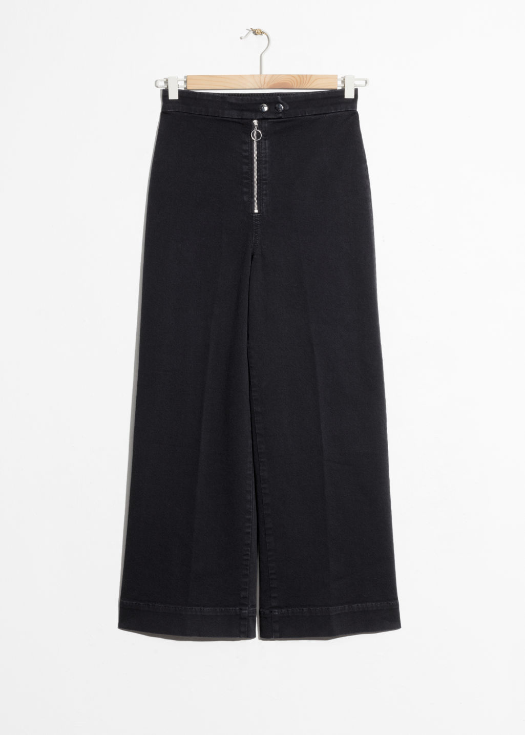 Front image of Stories faded denim culottes  in black