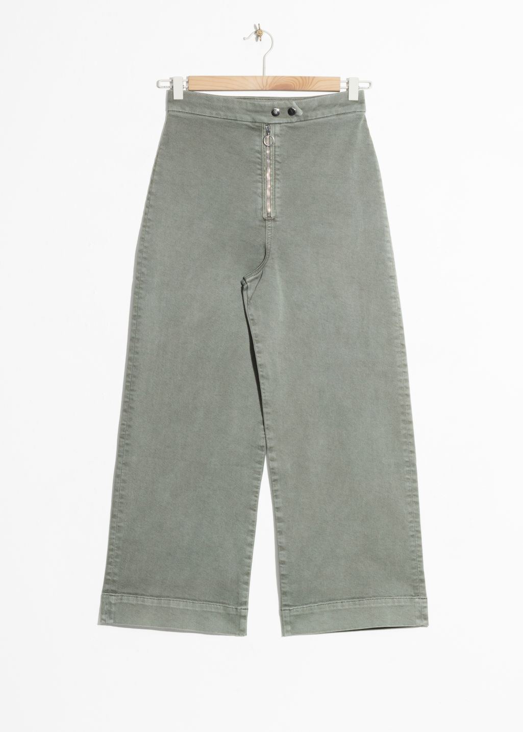 Front image of Stories faded denim culottes  in green