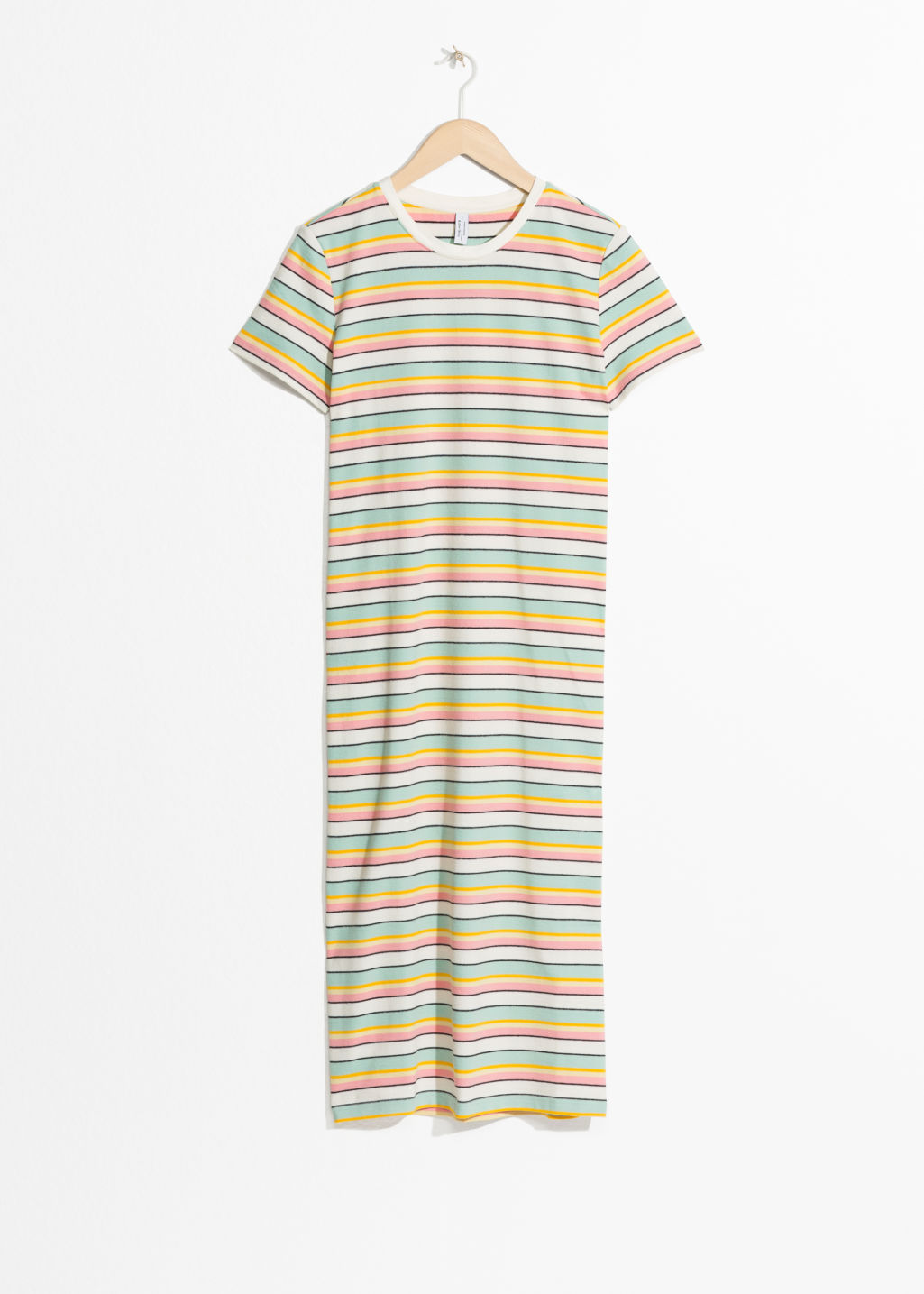 Front image of Stories striped midi shirt dress in white