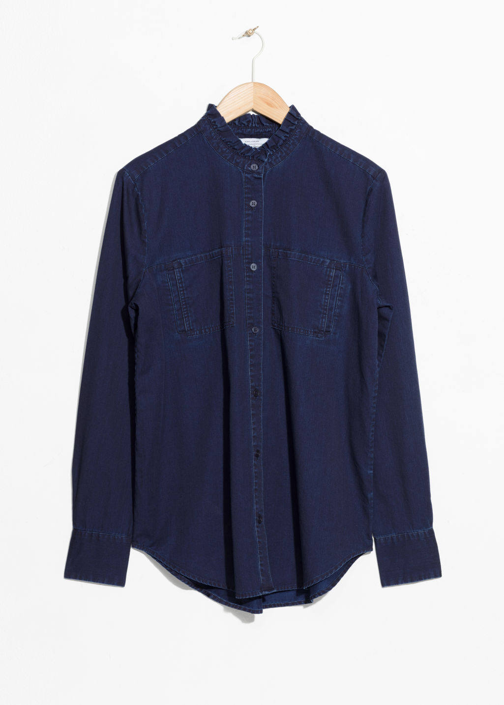 Front image of Stories denim utilitarian shirt in blue
