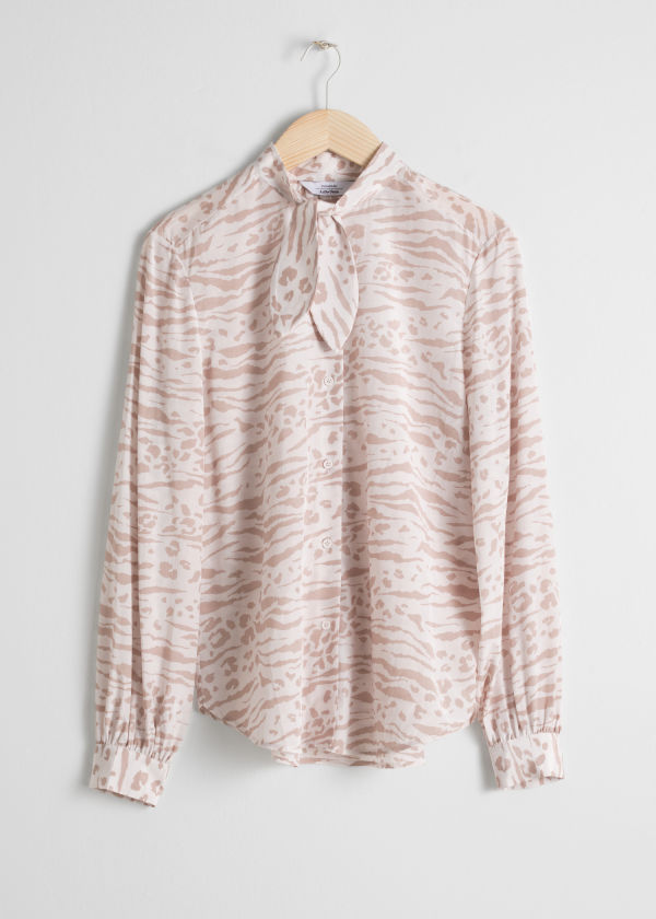 Animal Print Pussy Bow Blouse