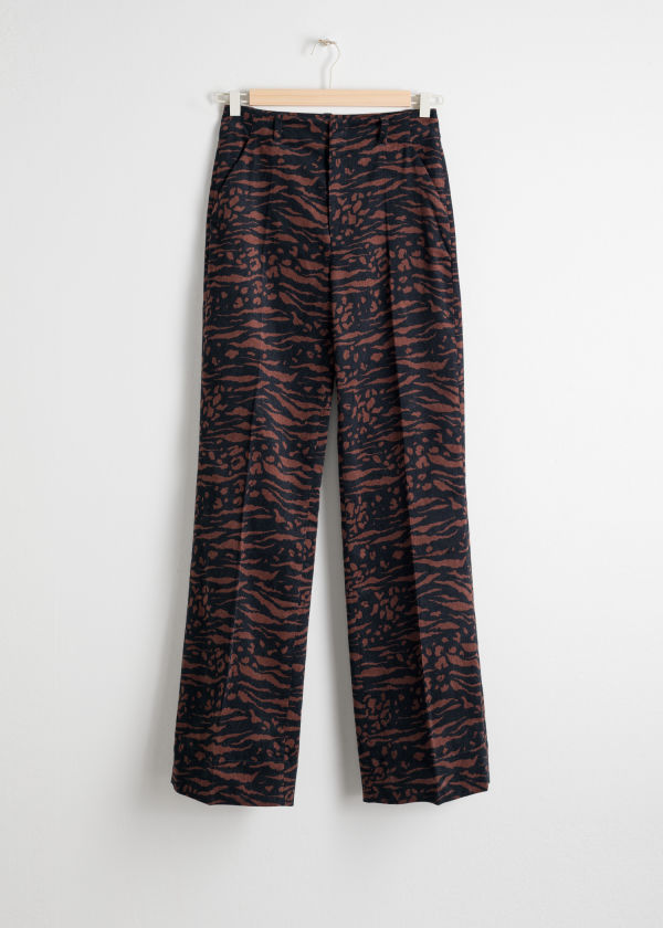 Animal Print Corduroy Kick Flares