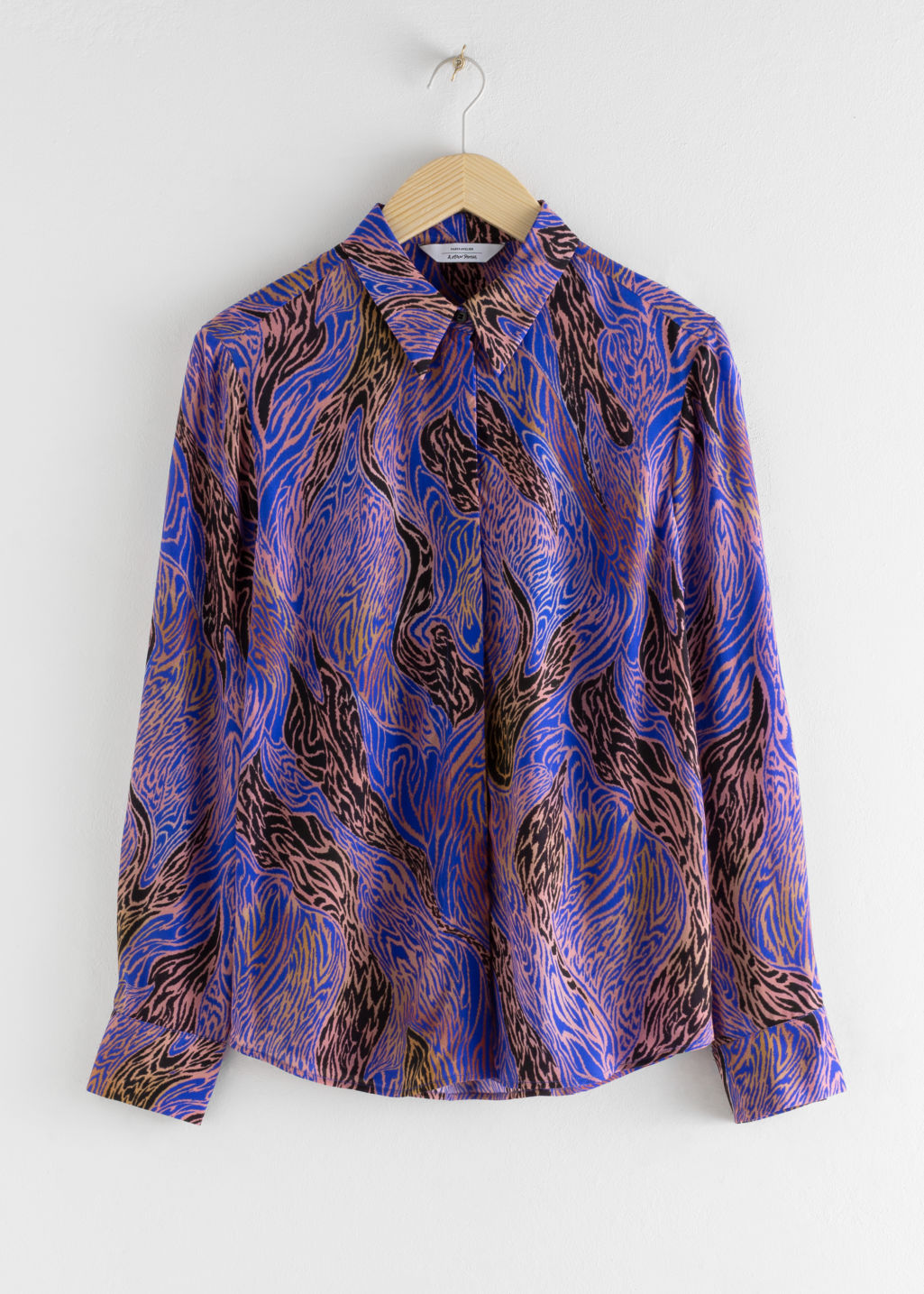 Front image of Stories spotted button up shirt in blue