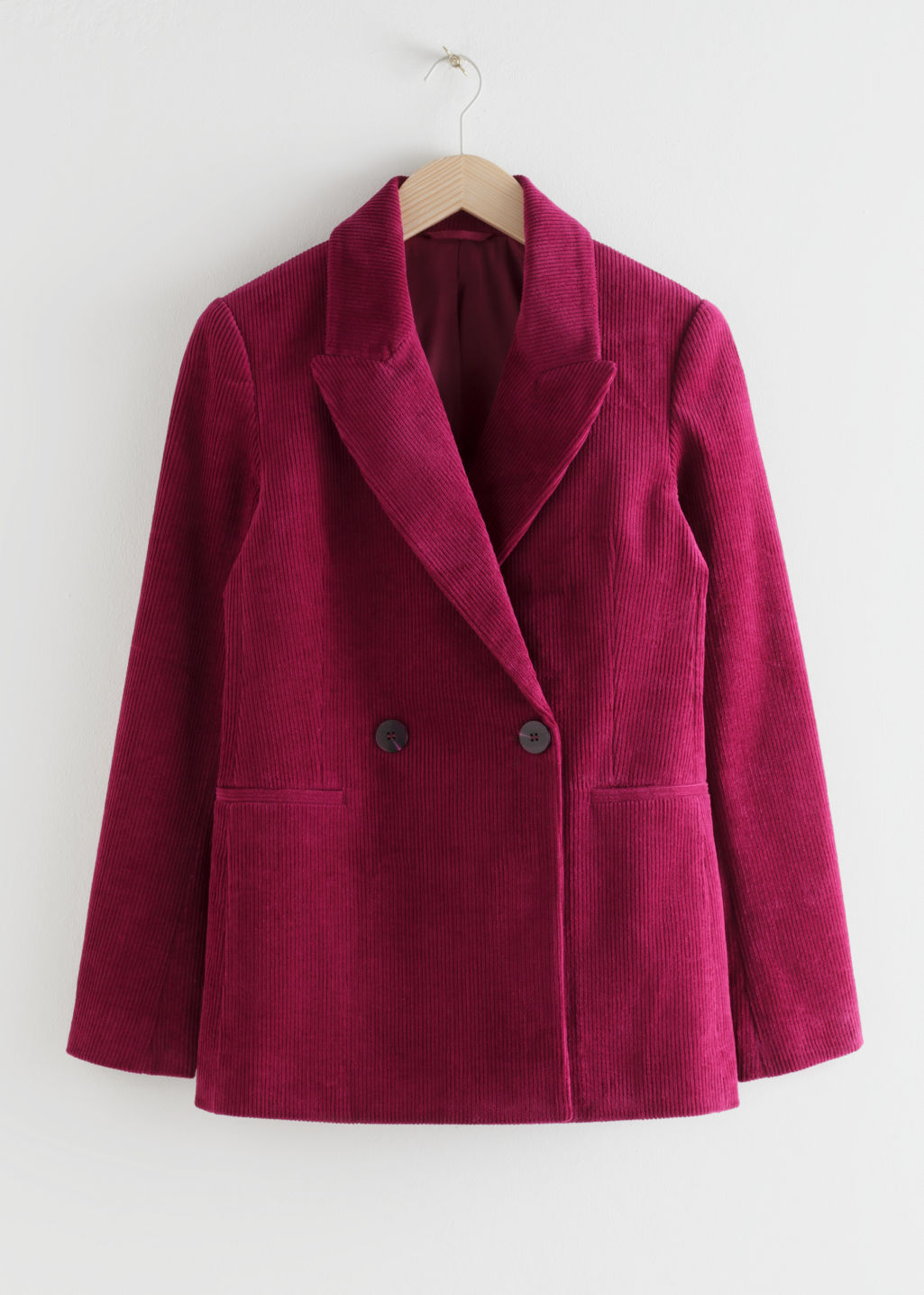 Front image of Stories double breasted corduroy blazer in pink