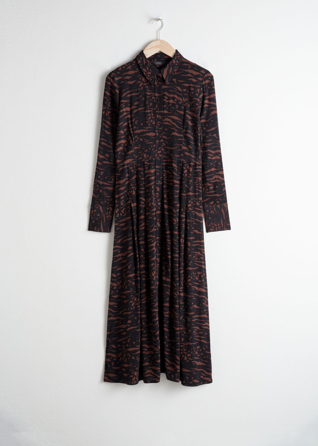 Front image of Stories printed flared shirt dress in black