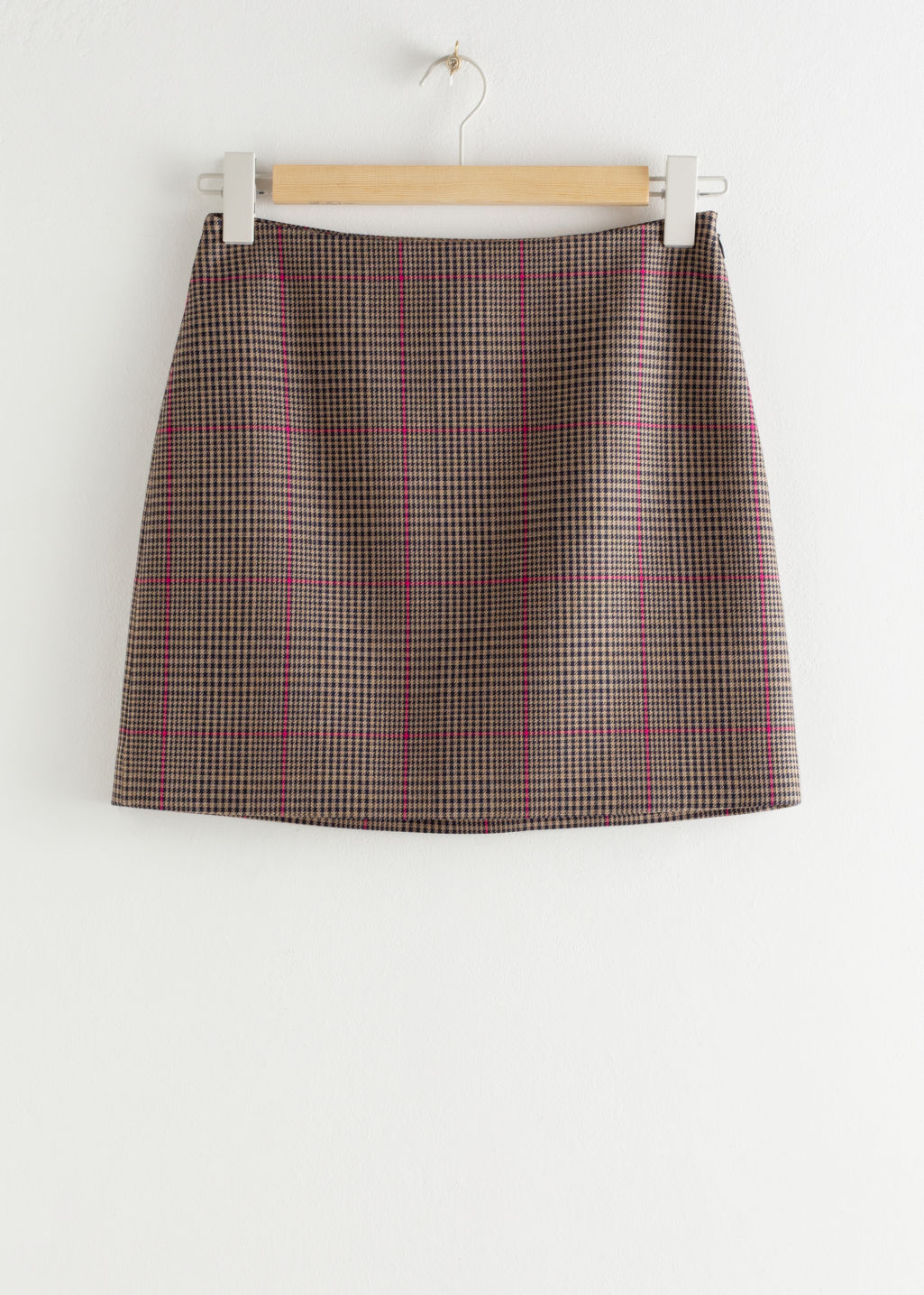 Front image of Stories houndstooth mini skirt in beige