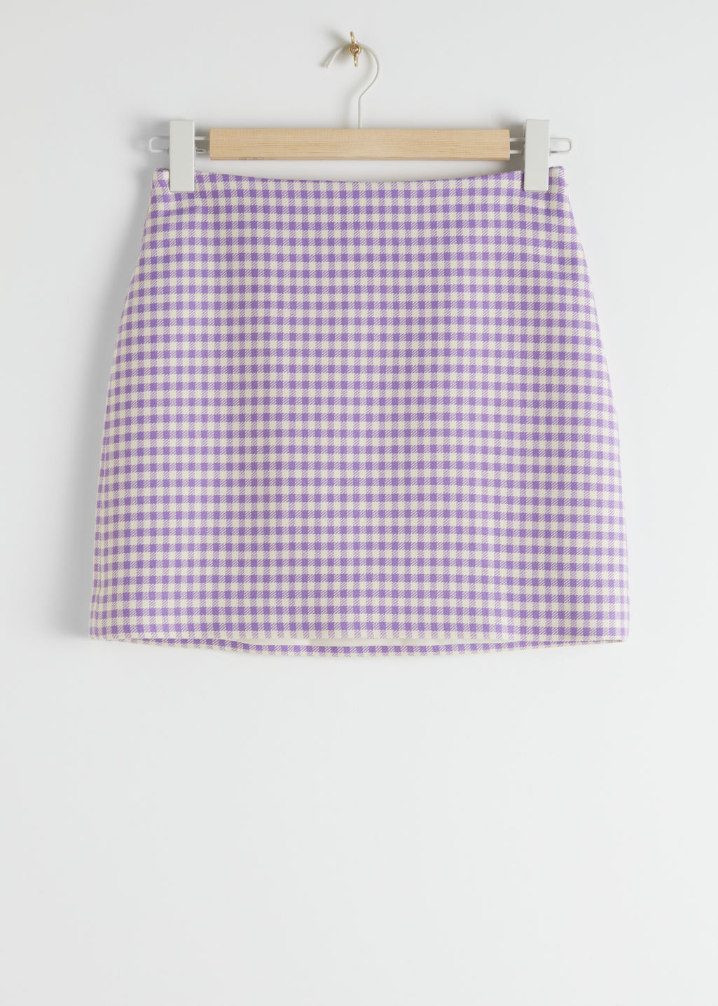 StillLife Front Image of Stories Houndstooth Mini Skirt in Purple