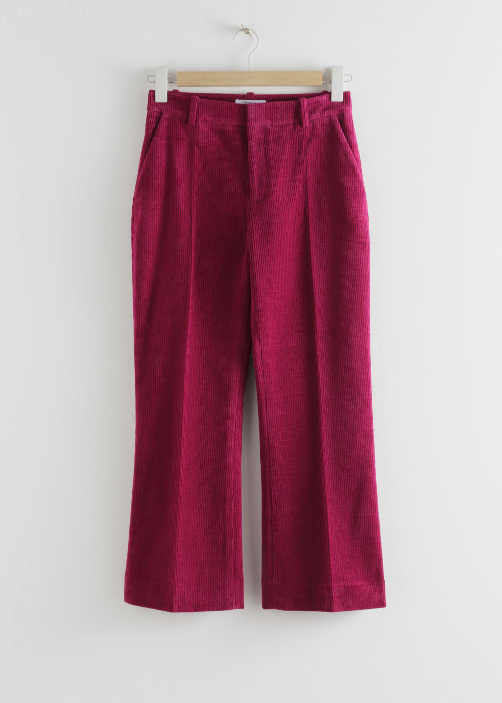 Front image of Stories cropped wide corduroy trousers in pink