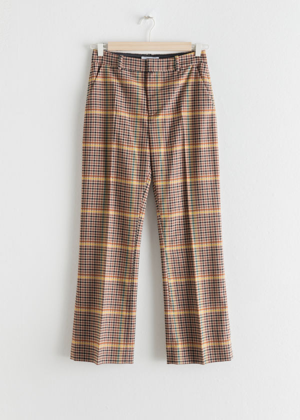Plaid Kick Flare Pants