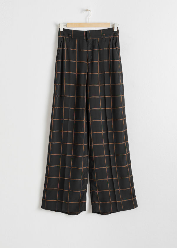 Wide Checked Trousers