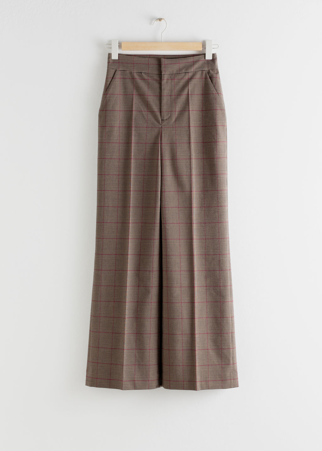 Front image of Stories wide checked trousers in beige