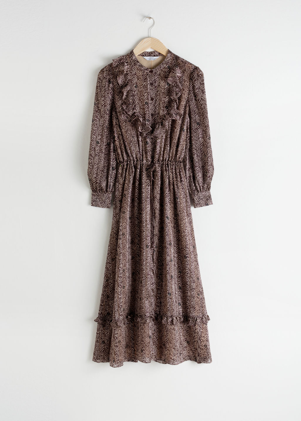 Front image of Stories printed ruffle bib midi dress in brown