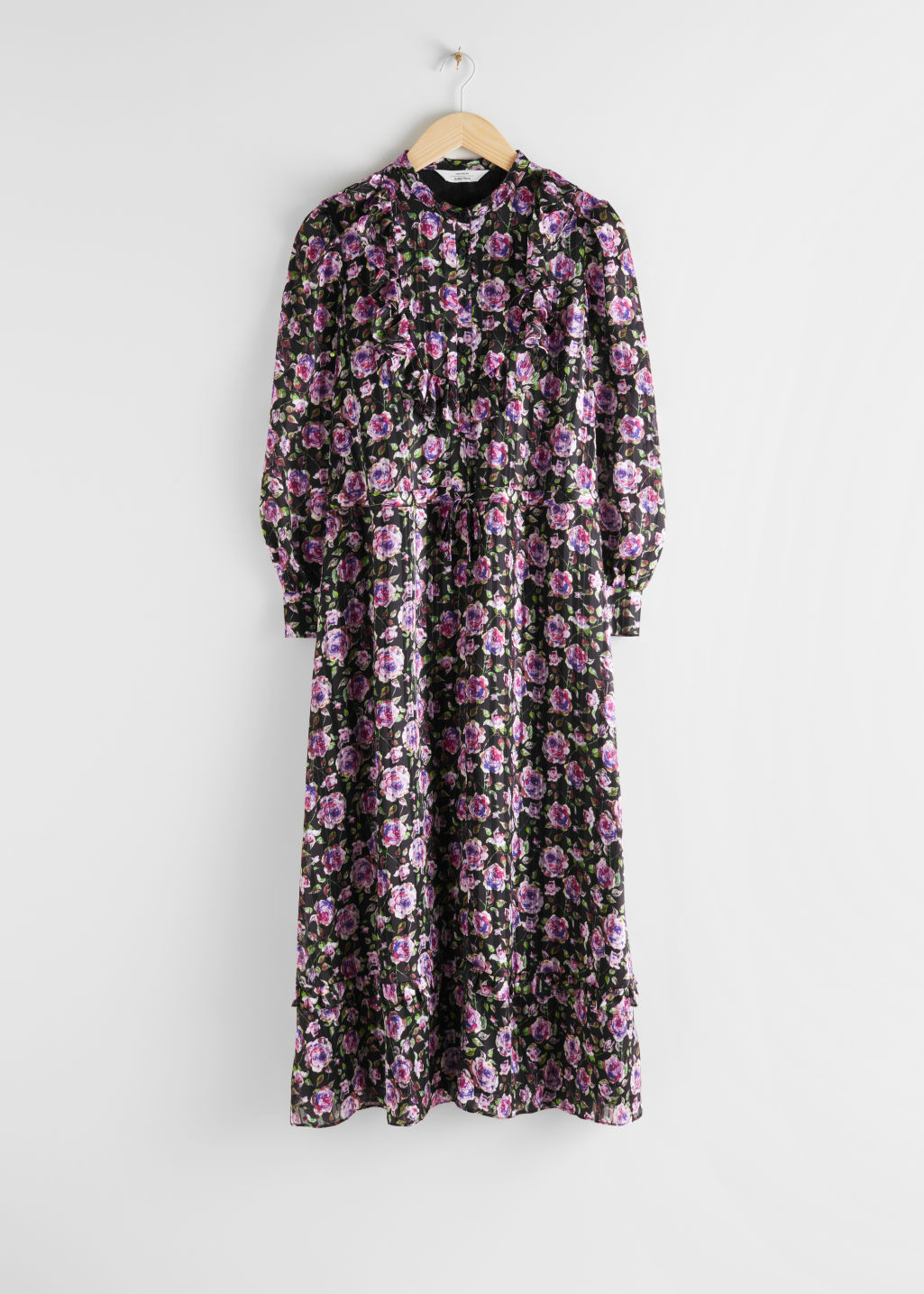 Front image of Stories printed ruffle bib midi dress in purple
