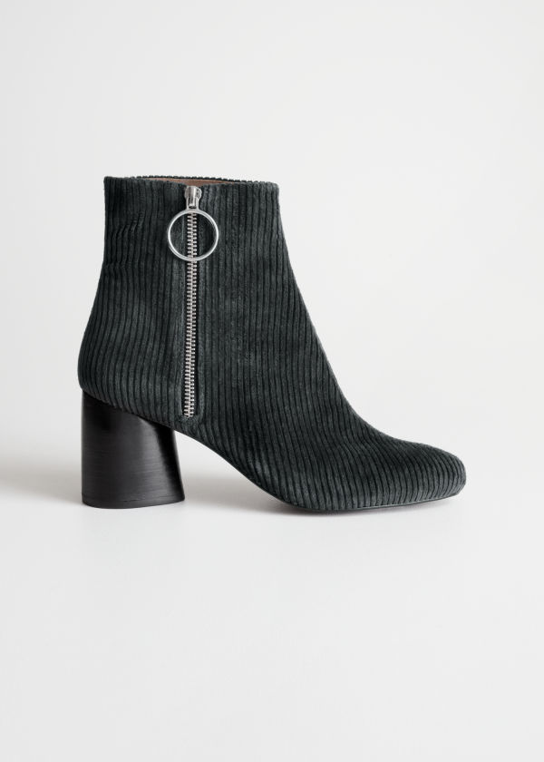 Front image of Stories corduroy o-ring boots in blue