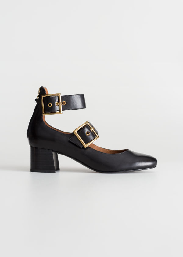 Front image of Stories duo buckle strap ballet pumps in black