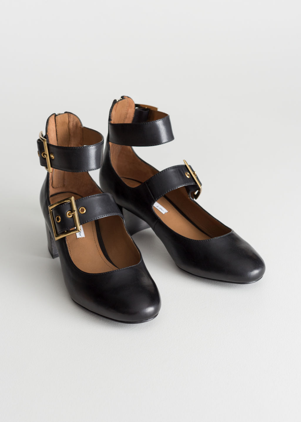 Back image of Stories duo buckle strap ballet pumps in black