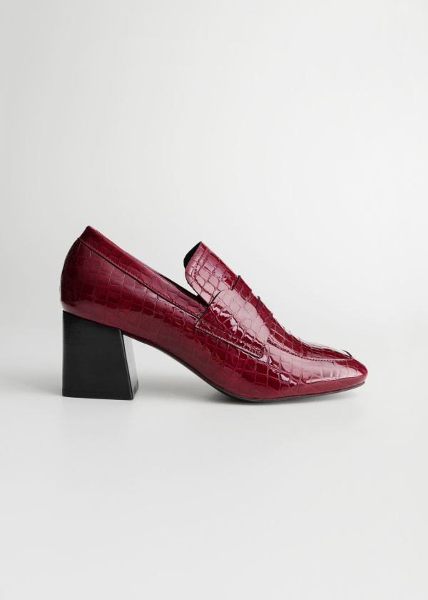 Front image of Stories patent croc heeled loafers in red