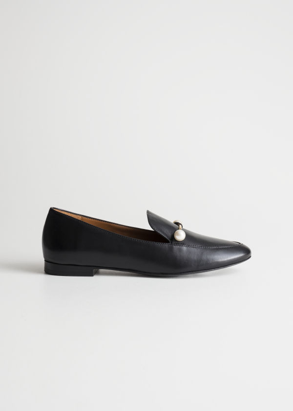 Front image of Stories duo pearl buckle loafers in black