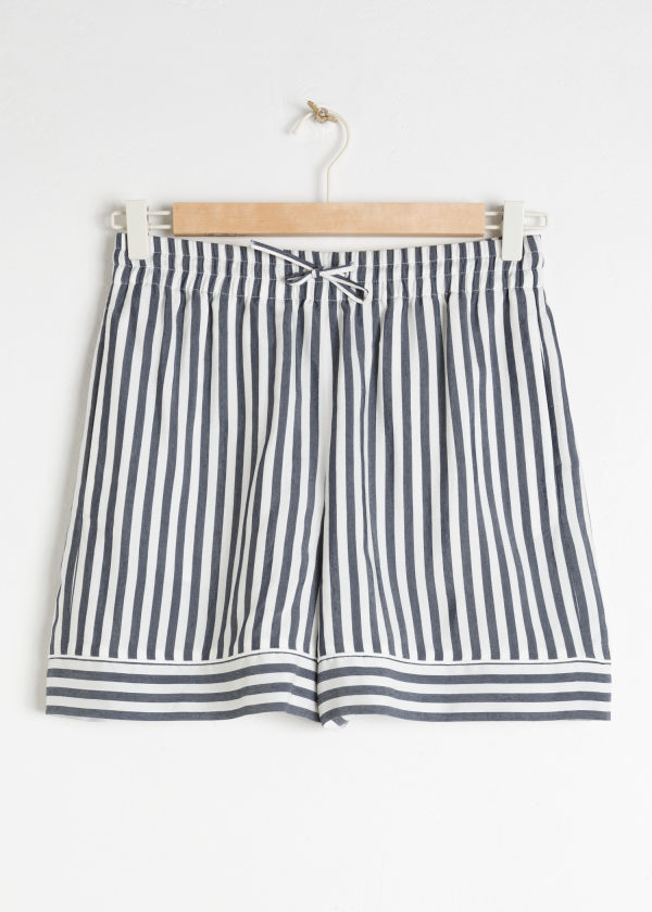 Front image of Stories striped elasticated shorts in blue