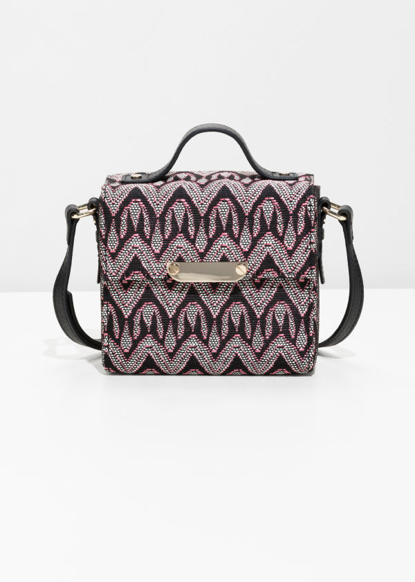 Structured Jacquard Crossbody Bag