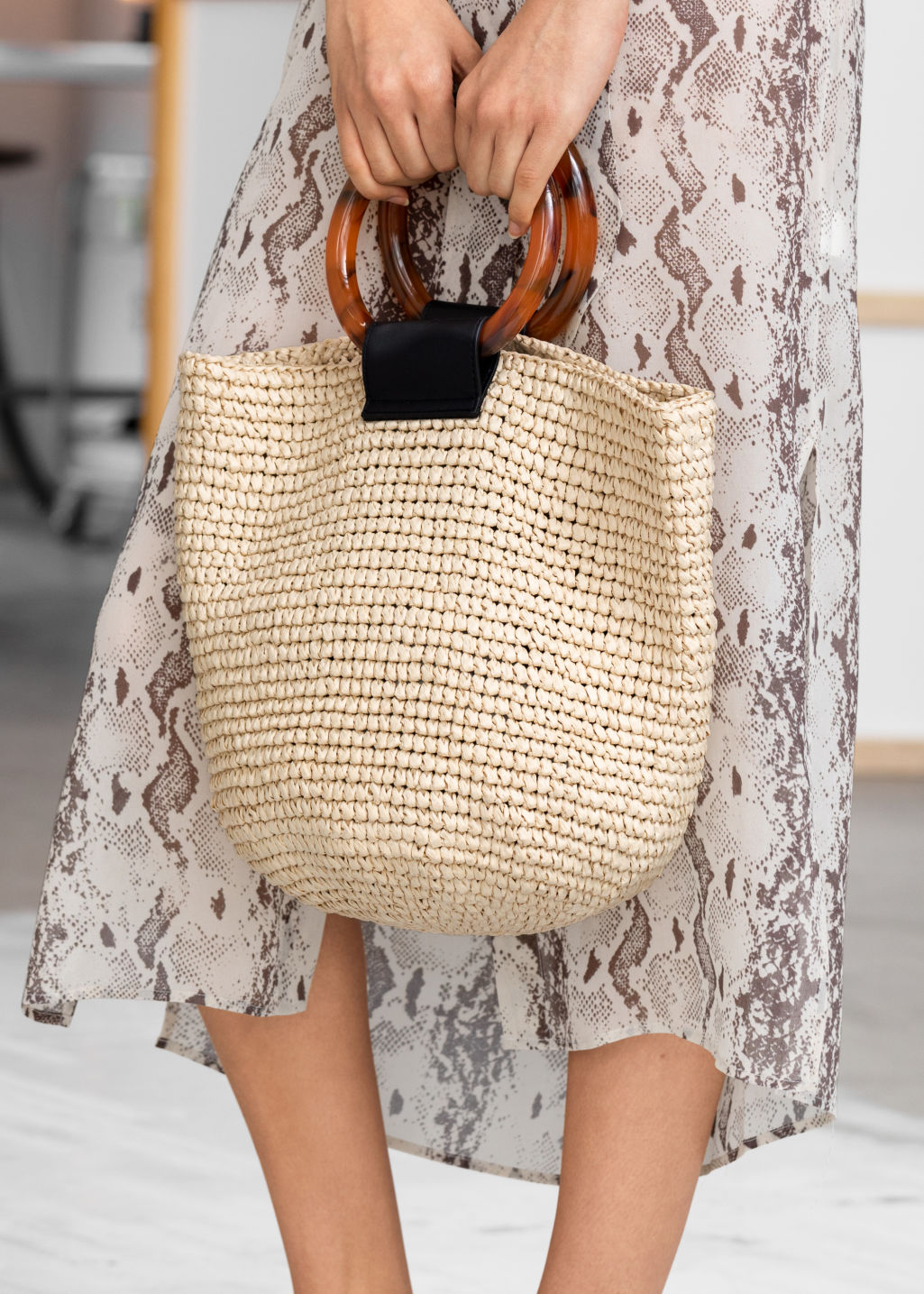 Back image of Stories woven straw tote bag in beige