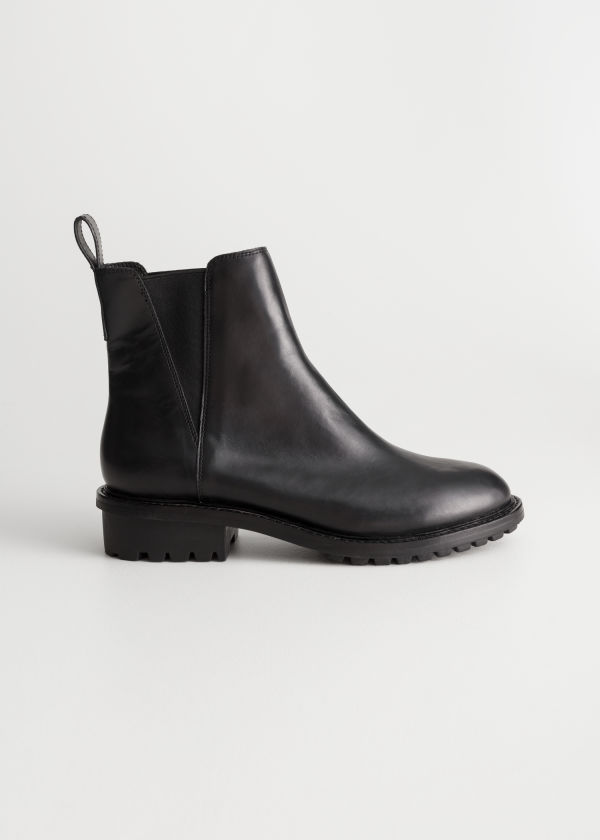 Leather Track Sole Boots