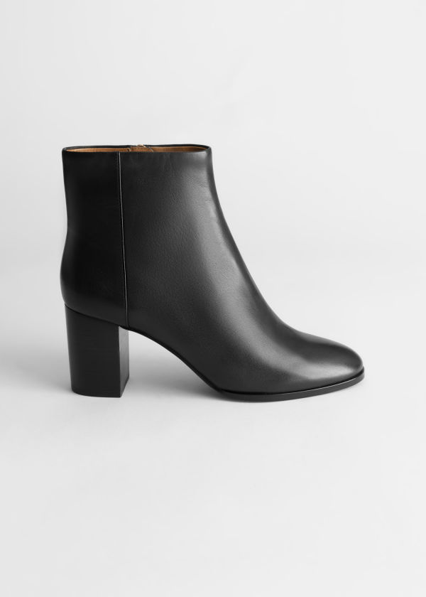O-Ring Zipper Leather Ankle Boots
