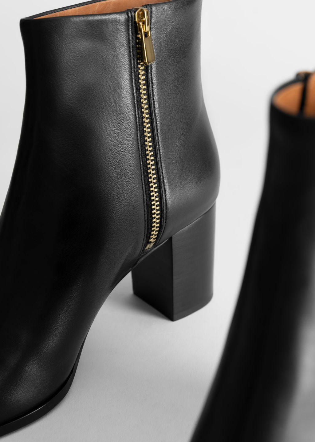 Back image of Stories smooth leather ankle boots in black