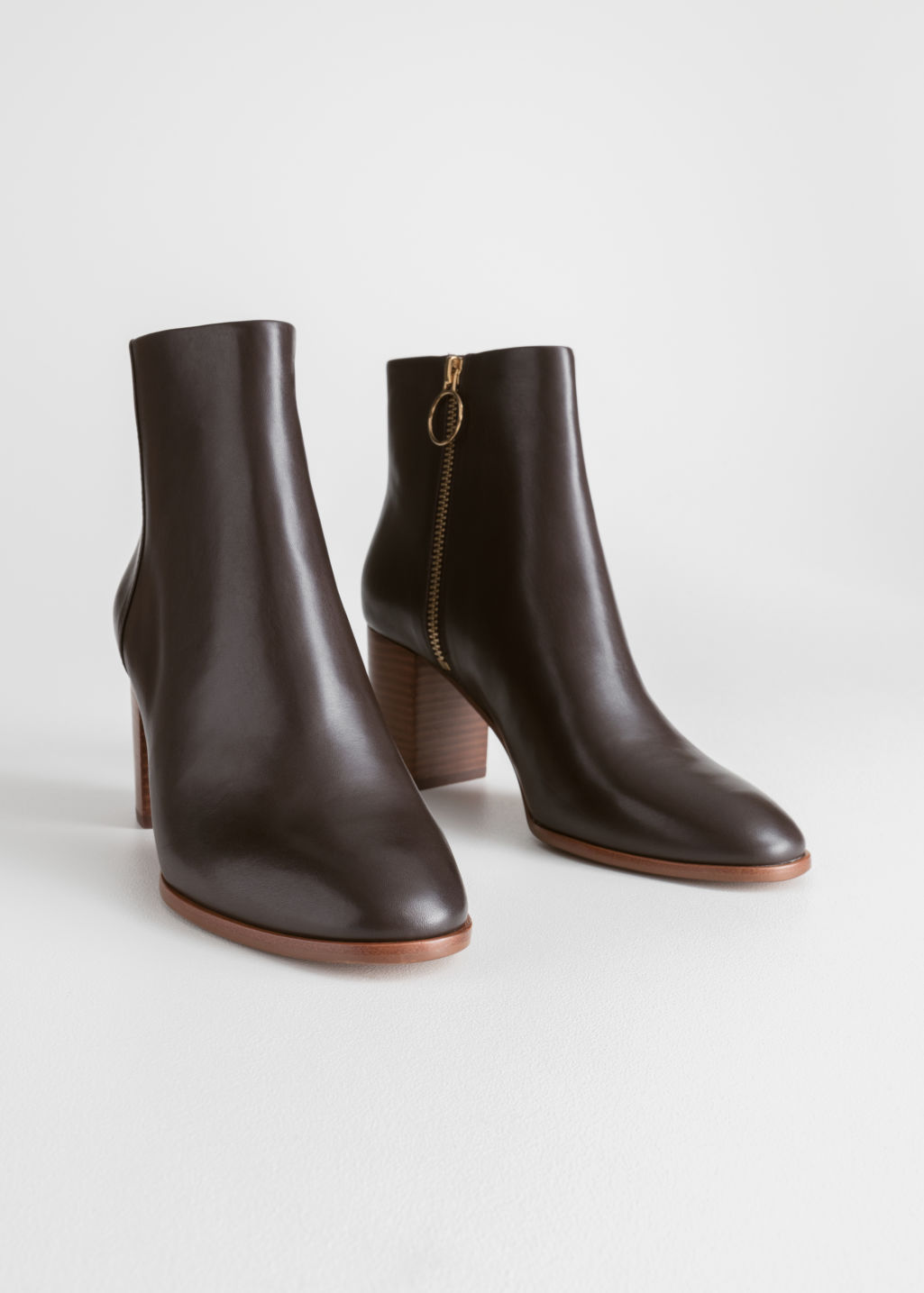 Back image of Stories o-ring zipper leather ankle boots in brown