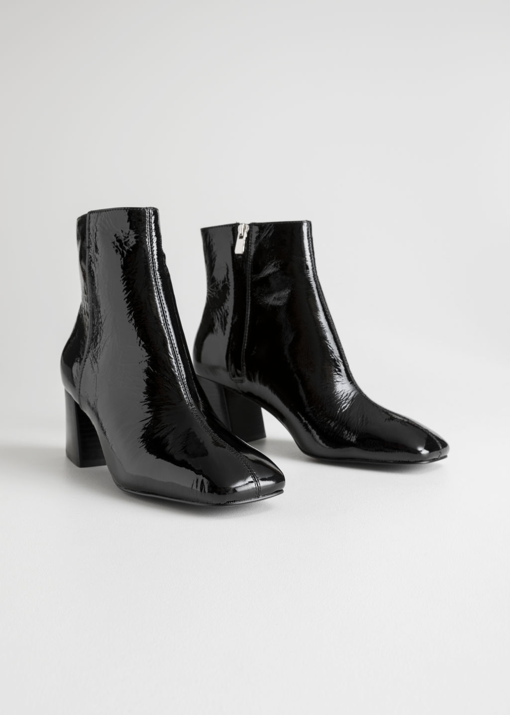 Patent Square Toe Ankle Boots