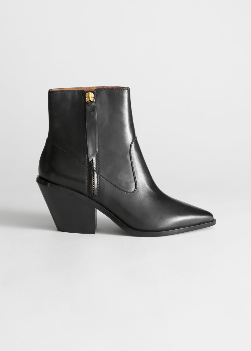 31e5f1f052b1 Leather Cowboy Ankle Boots - Black - Ankleboots -   Other Stories