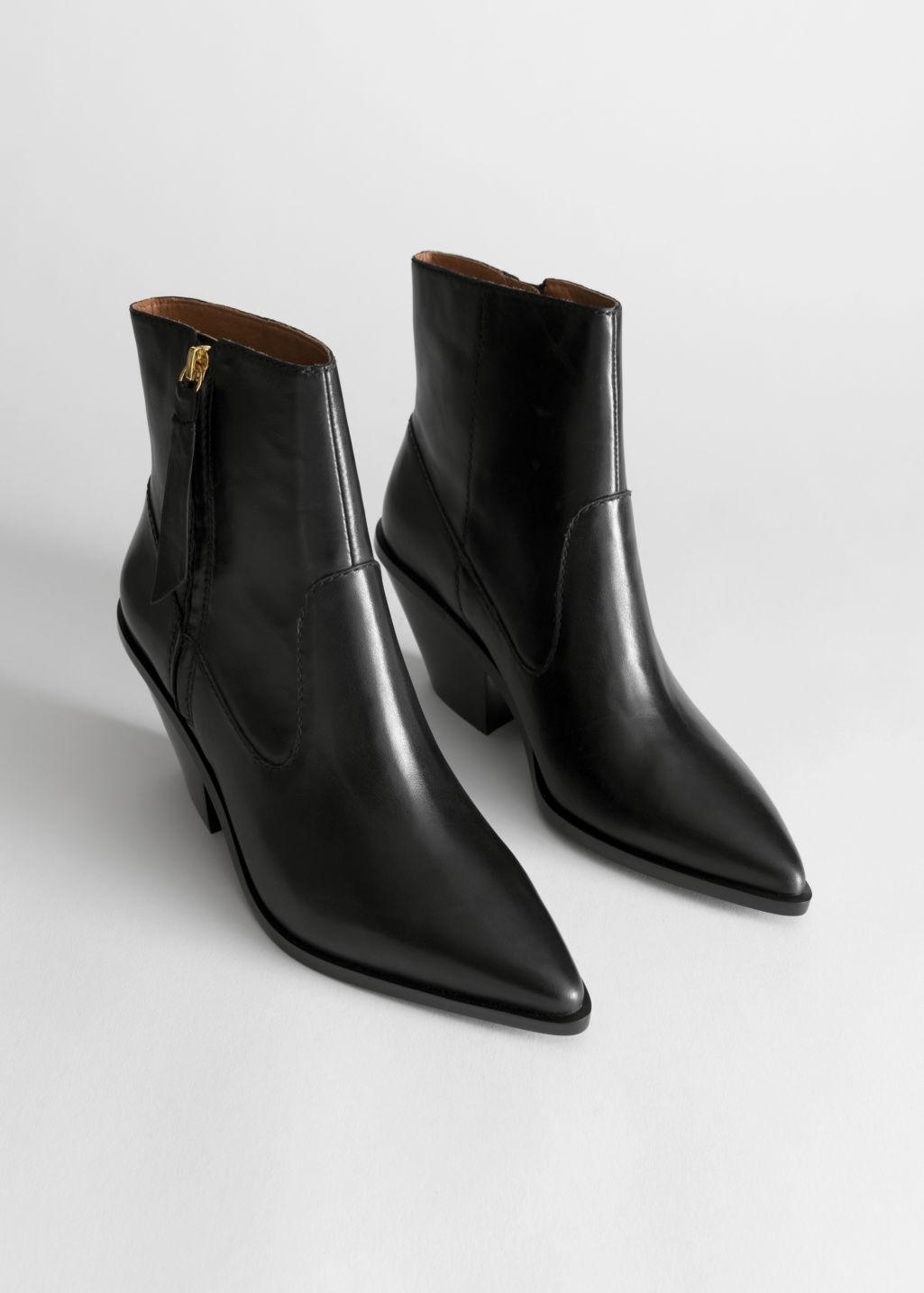 be41aafee56d Leather Cowboy Ankle Boots - Black - Ankleboots -   Other Stories