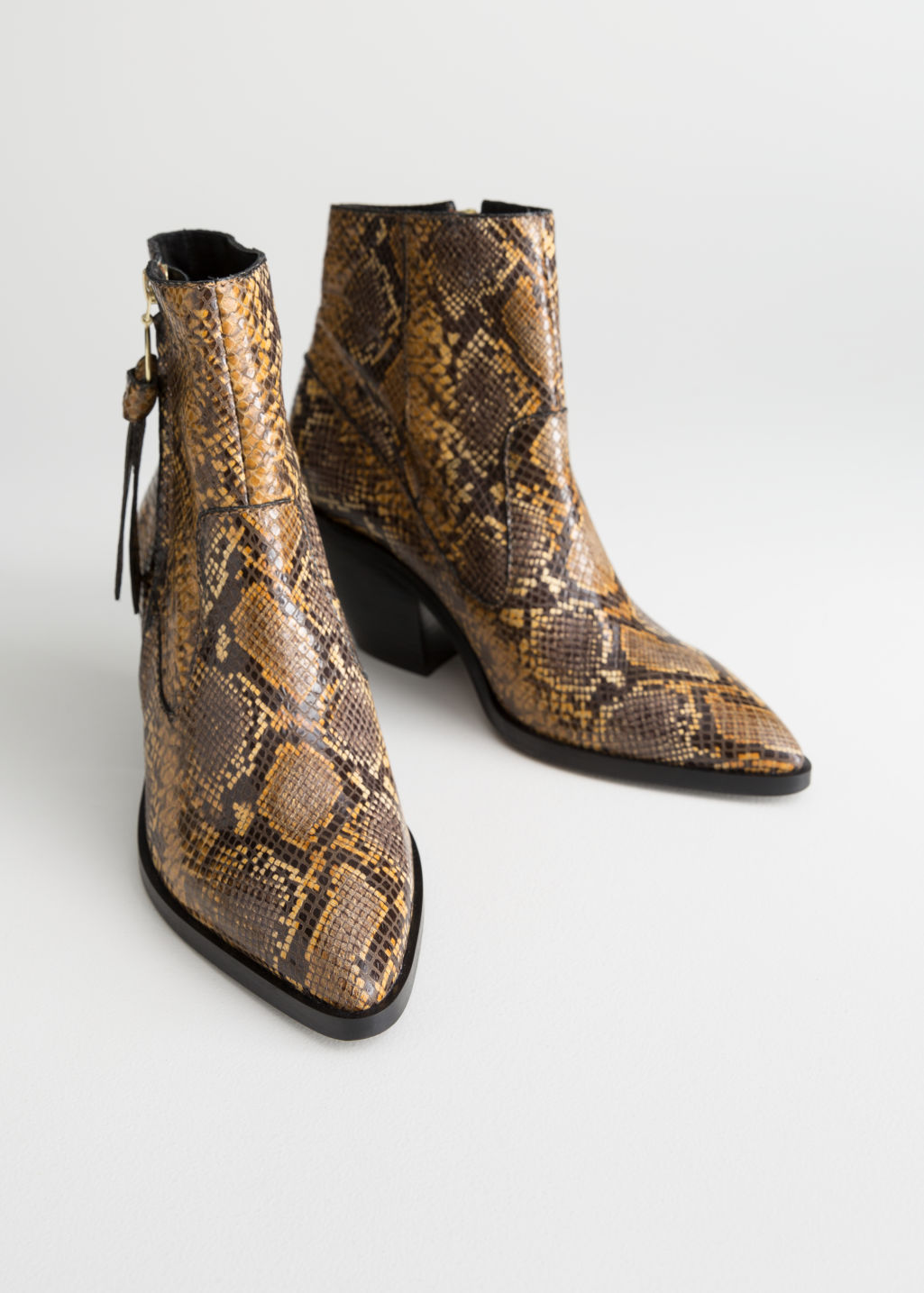 a790578ef21a3 Snake Cowboy Ankle Boots - Snake - Ankleboots -   Other Stories
