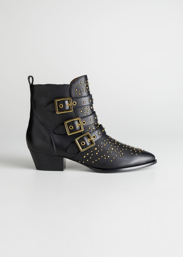 Front image of Stories trio buckle studded ankle boots in black