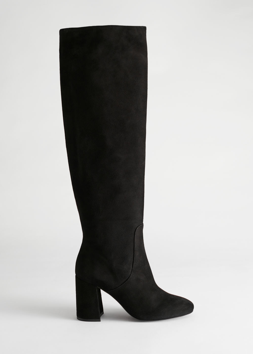 StillLife Side Image of Stories Knee High Suede Boots in Black
