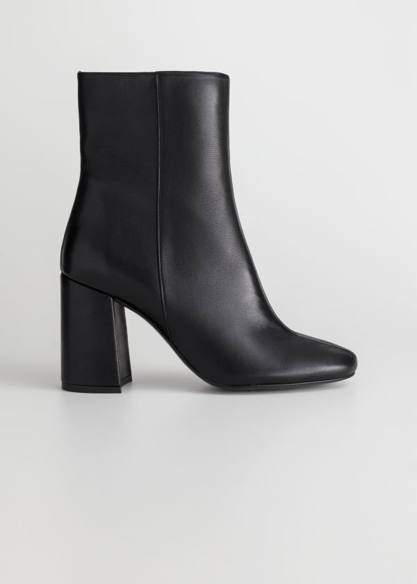 High Leather Ankle Boots