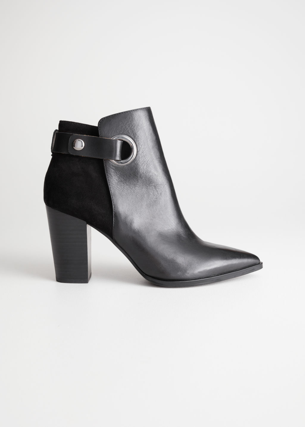 Front image of Stories suede leather ankle boots in black