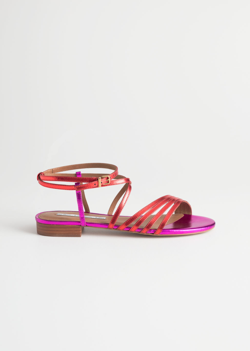 Front image of Stories metallic gladiator strappy sandals in red