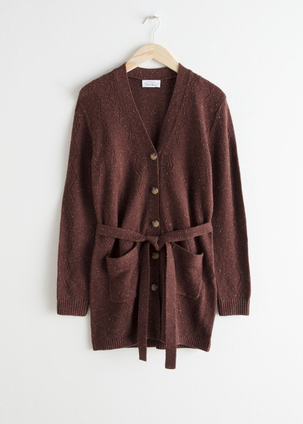 Front image of Stories zig zag knit cardigan in brown
