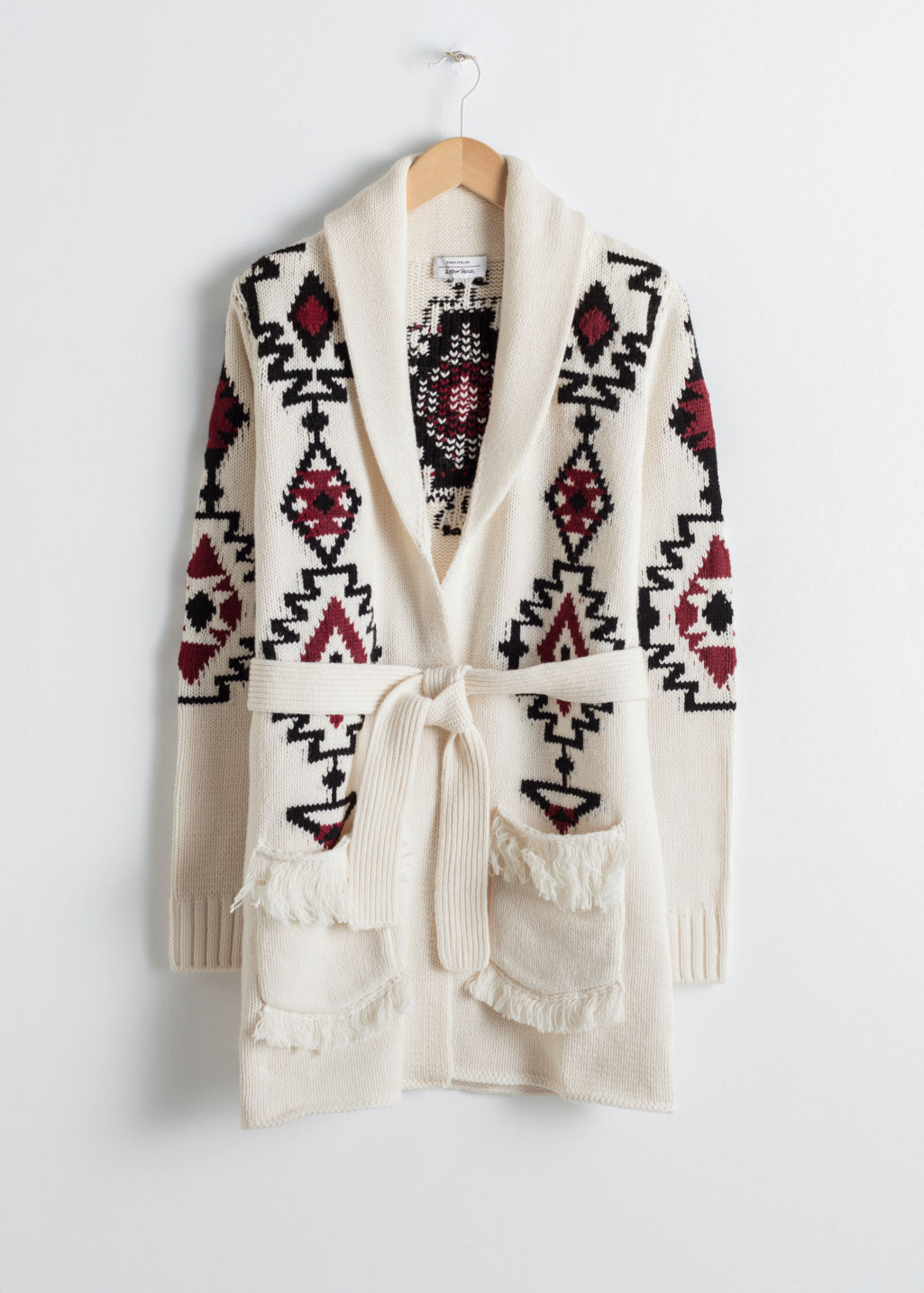 Front image of Stories southwestern knit belted cardigan in white