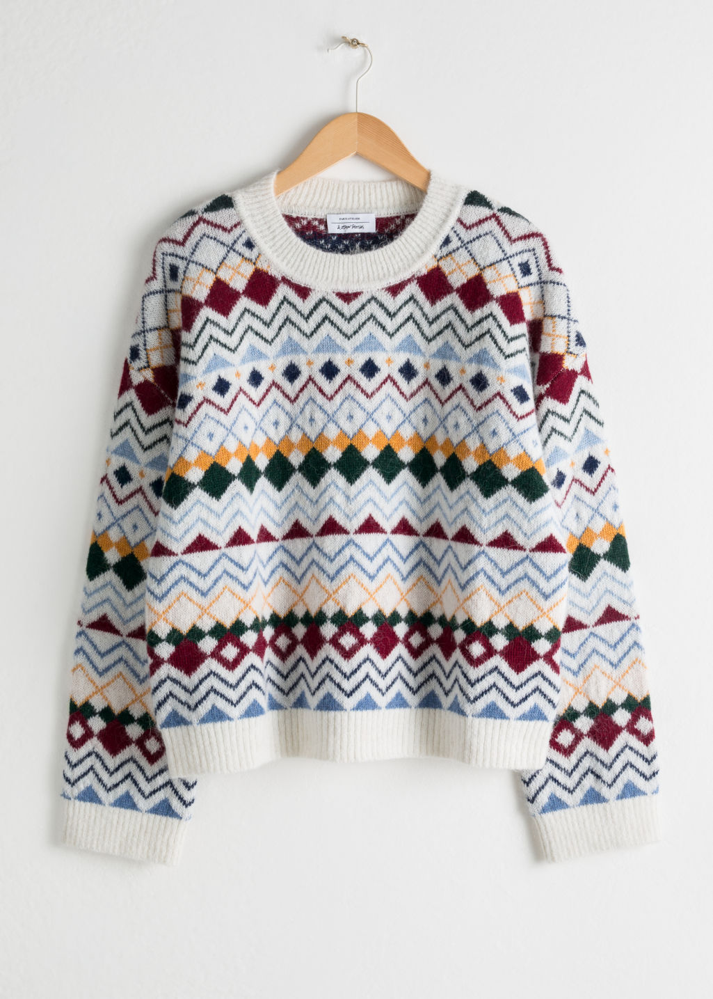 Front image of Stories fairisle knit sweater in white