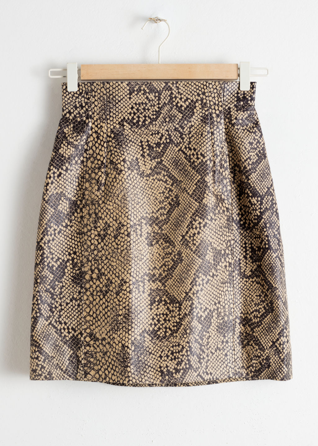 Front image of Stories high waisted leather skirt in green