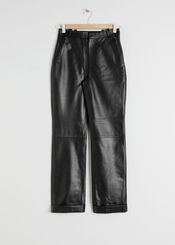 Cuffed Leather Trousers