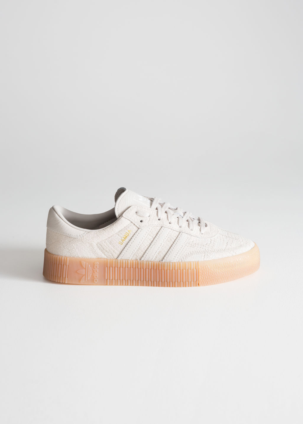 Front image of Stories adidas sambarose in white