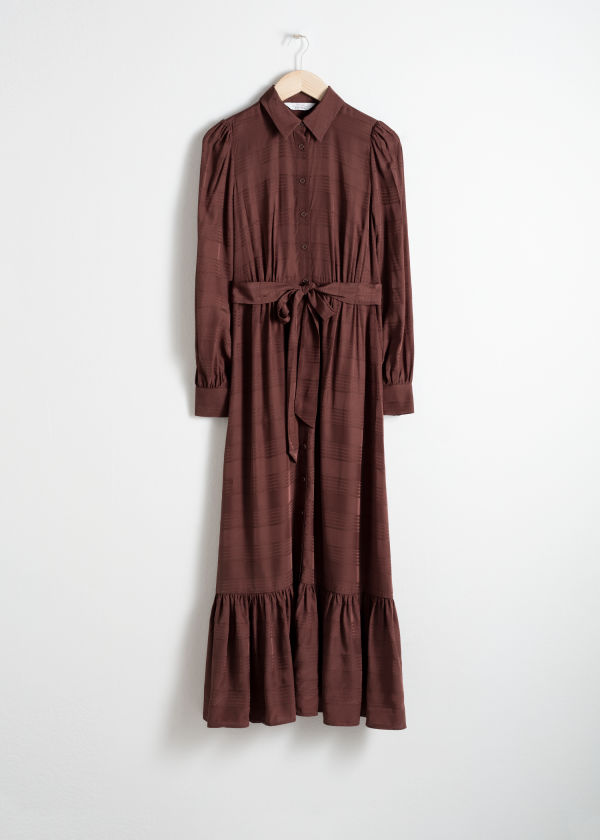 Front image of Stories belted ruffle midi dress in brown