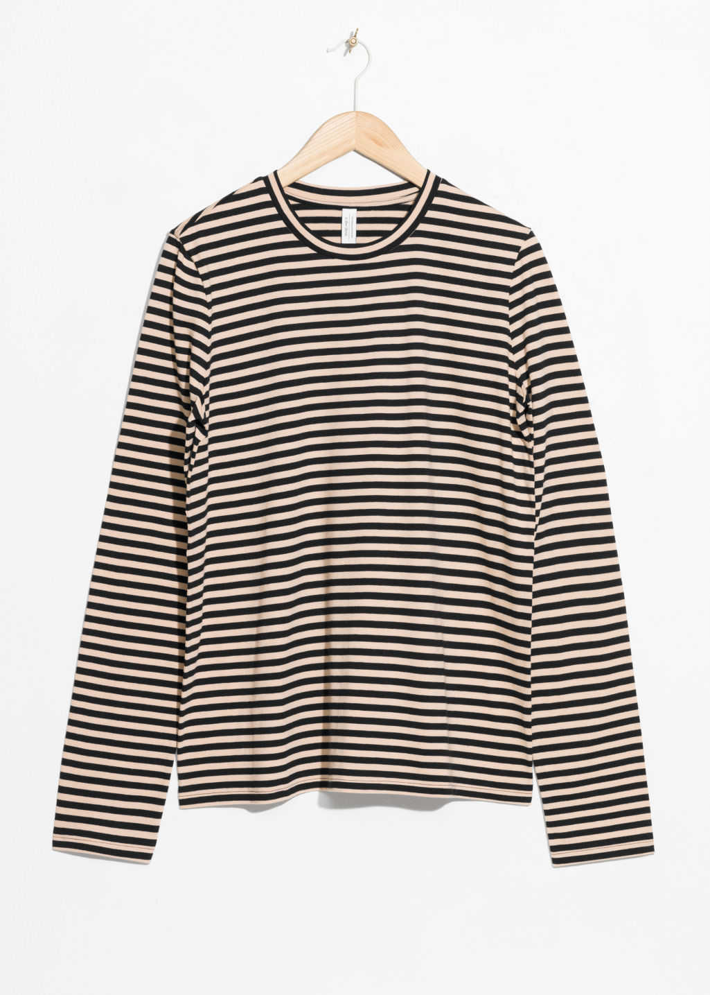 Front image of Stories losse fit stripe shirt in black