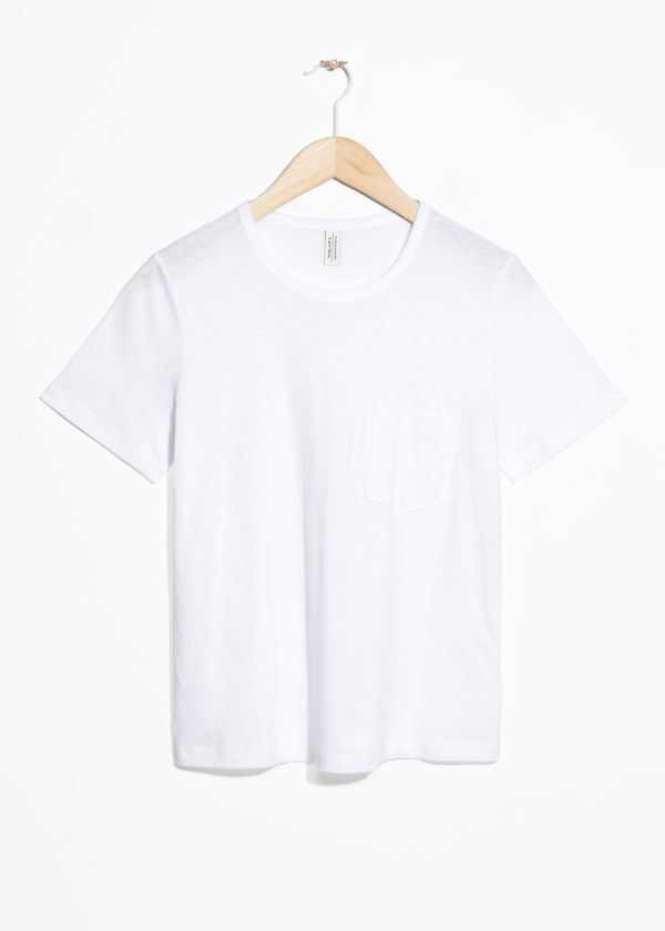 Front image of Stories side pocket tee in white