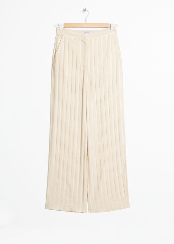 Front image of Stories linen blend stripe trousers in beige
