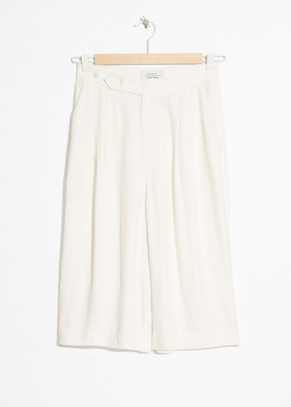 Front image of Stories high waisted bermuda shorts in white