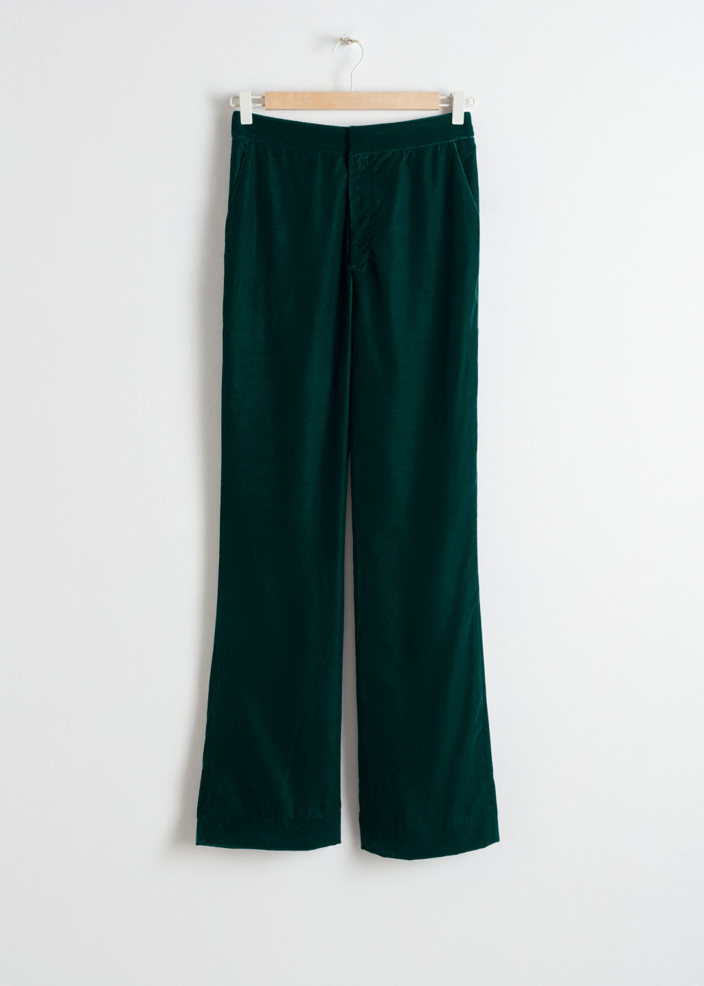 Front image of Stories high waisted velvet trousers in turquoise
